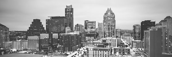 Austin Skyline Black and White Panorama