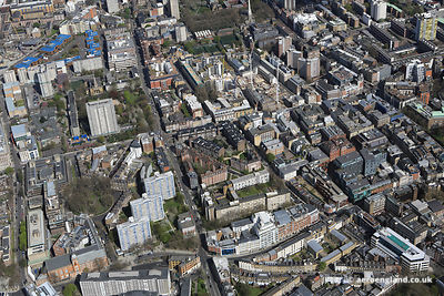 aerial photograph of St John St, Islington , London EC1V 4JY showing Northampton Square , Percival St, Goswell Road EC1V 7PE,Skinner St EC1R 0HR and the City University London