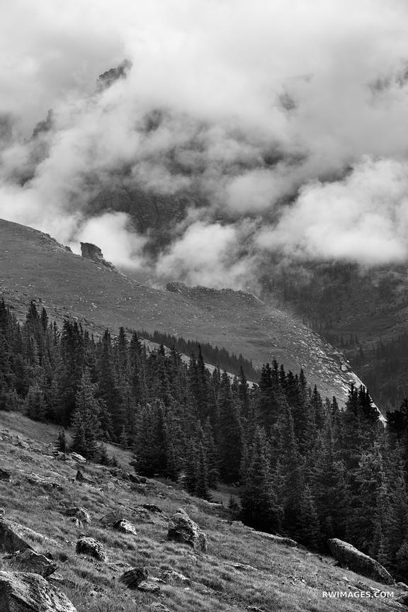 MOUNT EVANS ROAD SCENIC BYWAY COLORADO ROCKIES BLACK AND WHITE VERTICAL