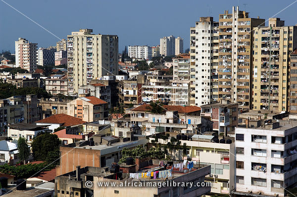 high-rise buildings from the 1950s and 1960s dot the city, Maputo, Mozambique