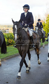 Lorna Collins leaving the meet - The Quorn at Barrowcliffe Farm
