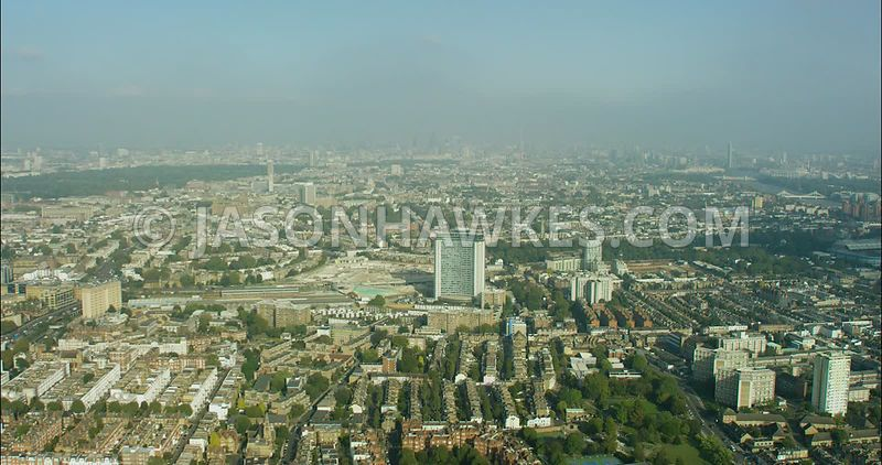 London Aerial Footage of Earls Court from the West.
