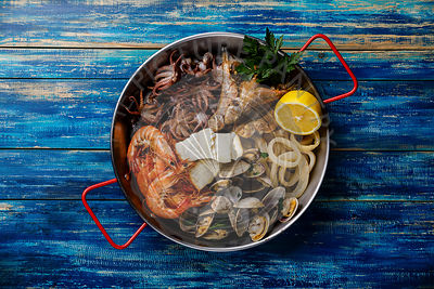 Seafood assorted platter - Prawn Shrimp, Vongole Clams, Squid rings, Octopus mini, roast Mackerel, roasted Codfish