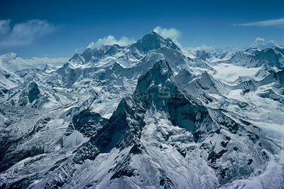 Aerial of Makalu and Everest, Himalayas, Nepal