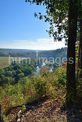 Vertical image of a river valley in Arkansas