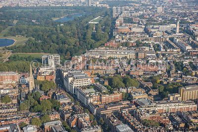 Aerial view of London, Kensington towards Hyde Park.