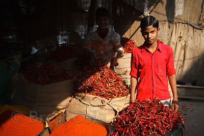 Chilis and chili powder for sale at a market in Bharatpur, Rajasthan, India