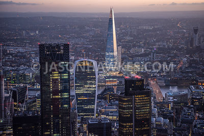 Skyscrapers in London. City of London. NatWest Tower, Leadenhall Building, The Shard, 20 Fenchurch St. London . Aerial view.