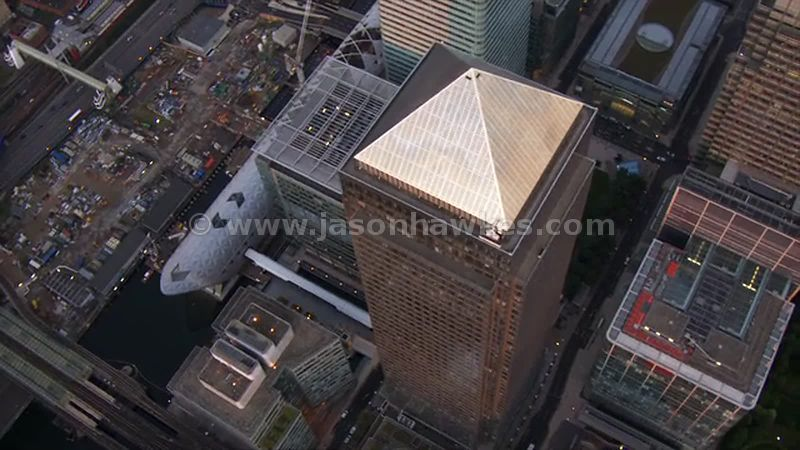 Aerial footage of One Canada Square, London
