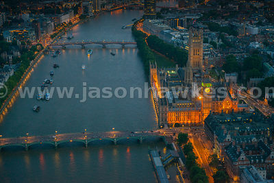 Aerial view of the Houses of Parliament and River Thames at night, London
