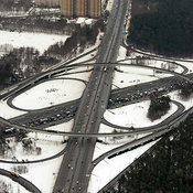 Moscow, Russia. The interchange at the intersection of Moscow Ring Road and Volgogradsky Prospekt.