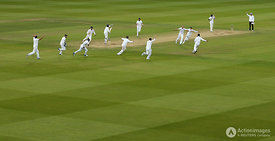 Cricket - England v Sri Lanka - Investec Test Series First Test - Lord's - 16/6/14 England's Stuart Broad (R) celebrates bowl...
