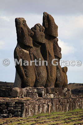 The five Vai Uri (Dark Water) moai, Tahai complex, Easter Island