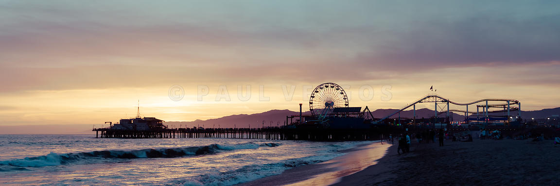 Santa Monica Pier Sunset Retro Panoramic Photo