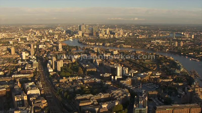 Aerial footage of Wapping, London
