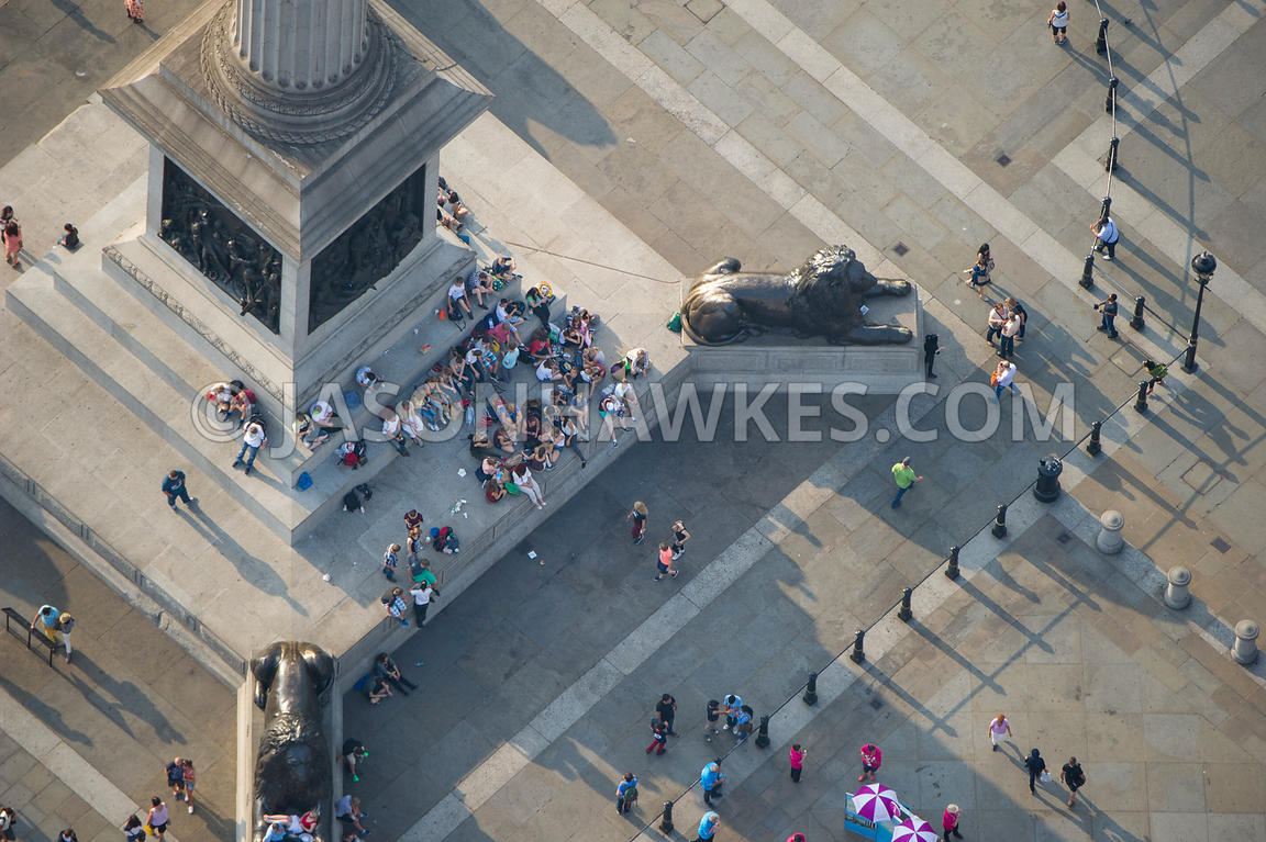 Aerial view of people gathered around Nelson's Column, Trafalgar Square, London