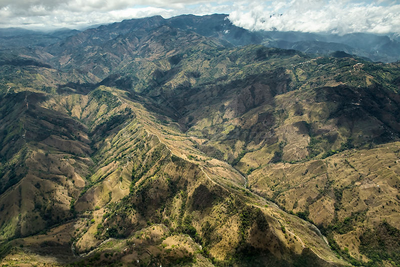 Aerial view of central Costa Rica, aerial view showing soil erosion on mountain slopes, Costa Rica, March 2013.