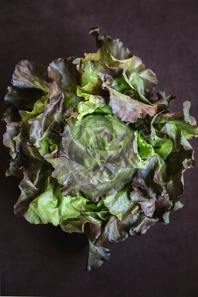 A big bunch of dark leafy salad greens is photographed from the top view.