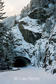 One of the three tunnels along the road to Hurricane Ridge, Olympic National Park, Olympic Peninsula, Washington, USA, March,...
