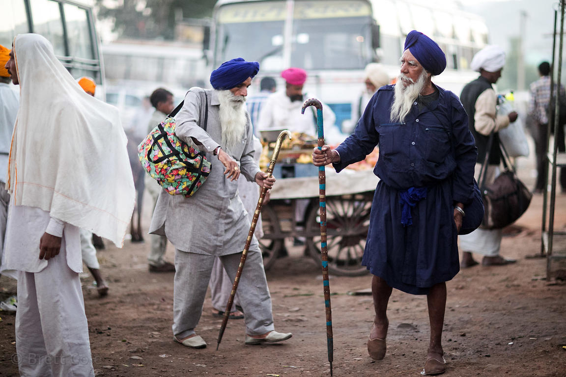 Sikh men at the Marwar bus stand in Pushkar, Rajasthan, India