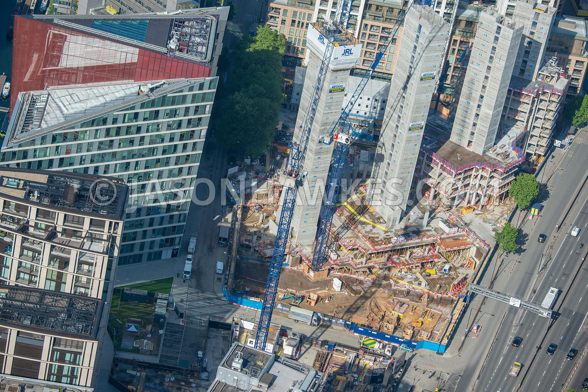 Aerial view of London close up of construction at Paddington Basin