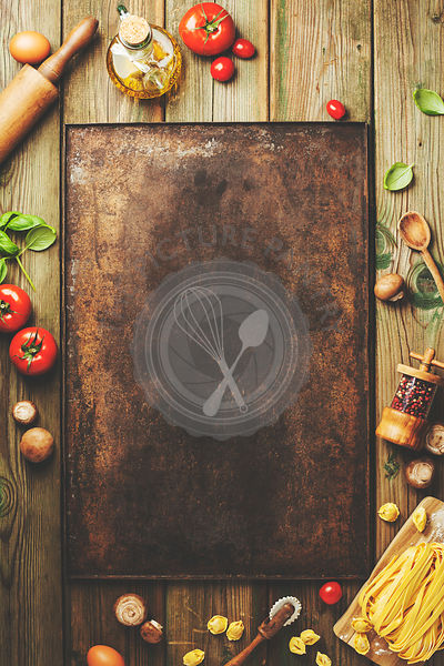 Cooking background: empty rustic baking sheet and italian ingredients. Top view, space for text