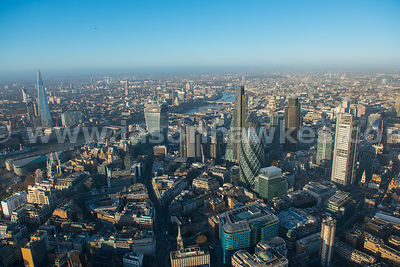 Aerial view of The City and The Shard, London