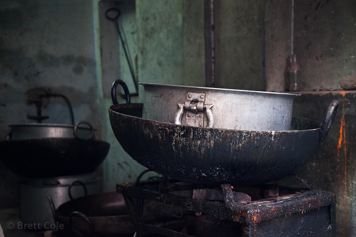 Large wok and pot in a shop in Jodhpur, Rajasthan, India