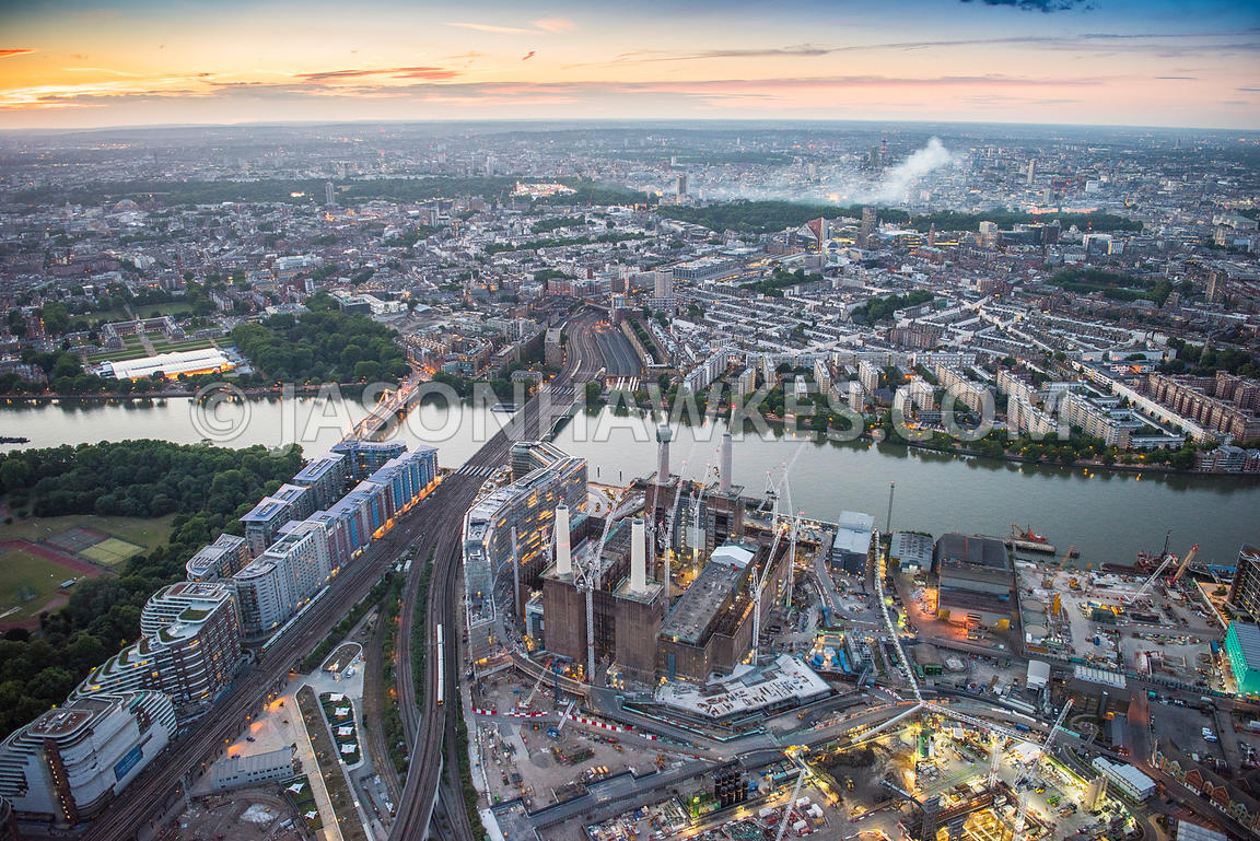 Aerial view of London, Nine Elms and Battersea redevelopment and regeneration at night.