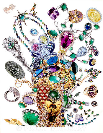 Society of Gardners: Bouquets of Jewelry, collage on paper