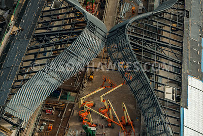 Aerial view of London, Kings Cross, redevelopment of Coal Drops Yard.