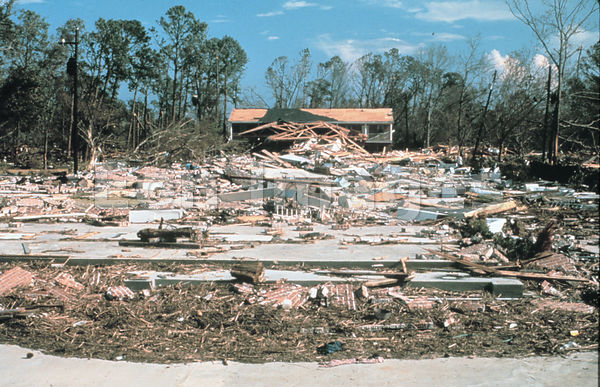 Buildings in Biloxi devastated by Hurricane Camille, 1969