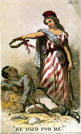 Card depicting America mourning African American
