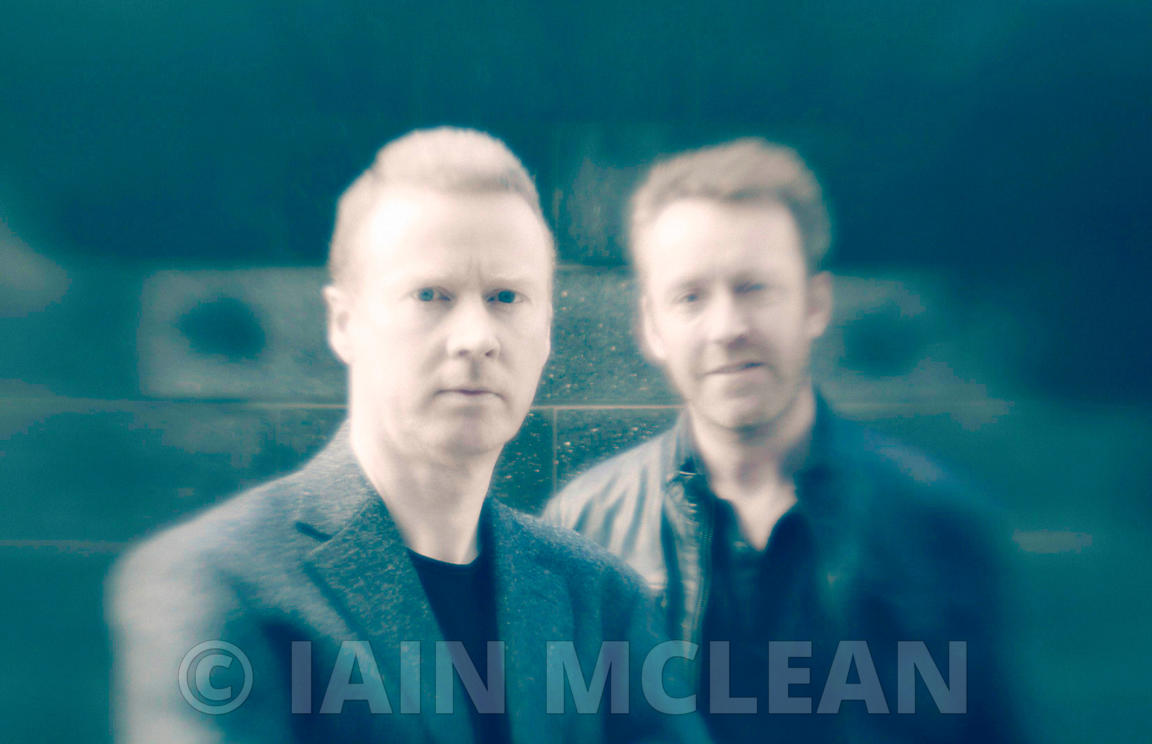 Kyle MacRae and Allan Guthrie (duo pics) and Ray Banks (author - solo pics).September 2011..Picture Copyright:.Iain McLean,.7...