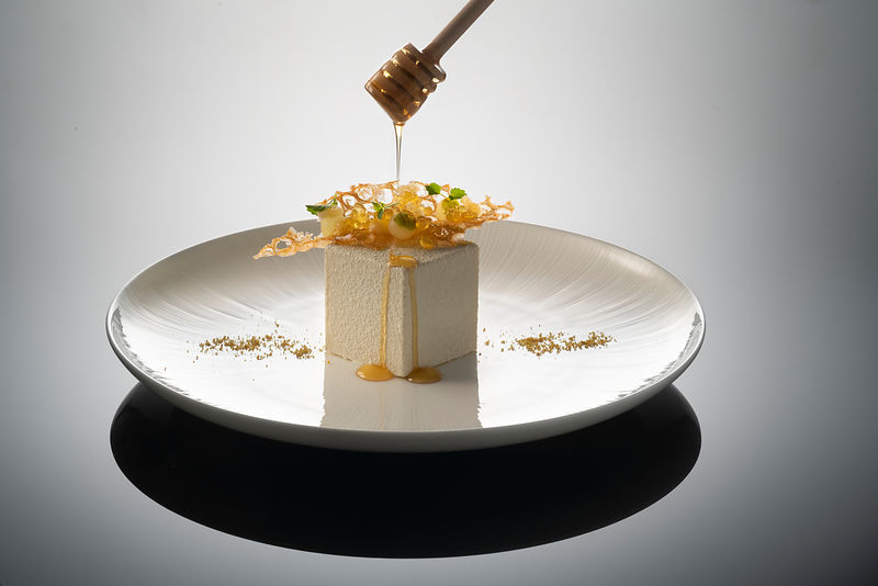 Hakkasan patisserie shoot, Hakkasan Hanway Place. Honey Parfait