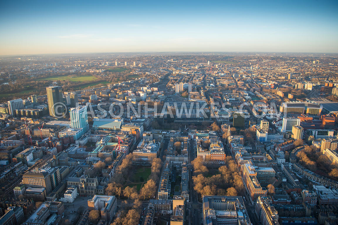 Aerial view of London, Euston Station with Euston Road and University College London from Bloomsbury.