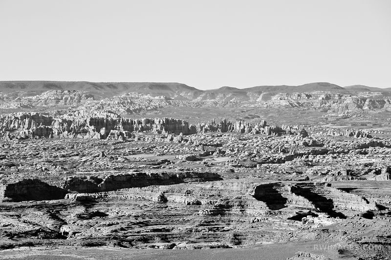 NEEDLES DISTRICT FROM GRAND VIEW POINT OVERLOOK CANYONLANDS NATIONAL PARK UTAH BLACK AND WHITE