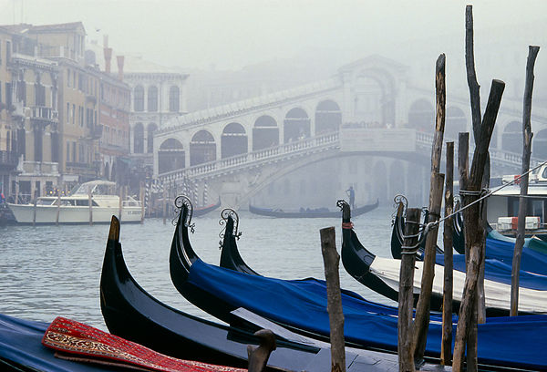 Looking over the gondolas through the mist to the Rialto Bridge in Venice, Italy