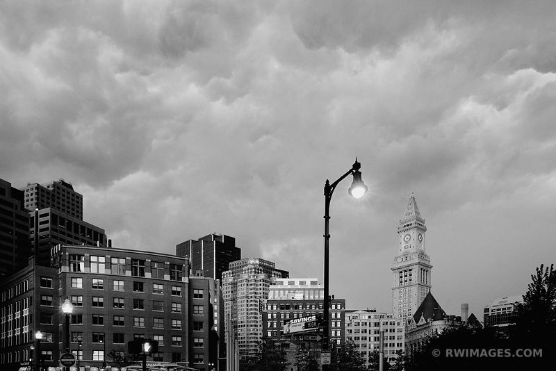 STORMY SKIES OVER BOSTON BLACK AND WHITE