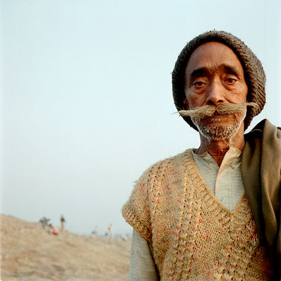 A pilgrim with a fine moustache at the Kumbh Mela