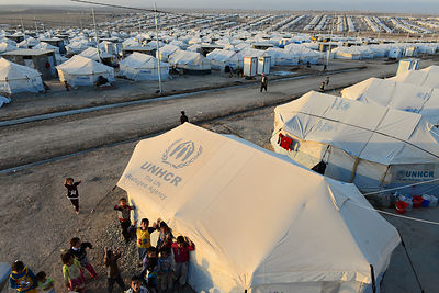 Tents of thousands of Yazidis fled when the Islamic State group earlier this month captured the northern Iraqi town of Sinjar...
