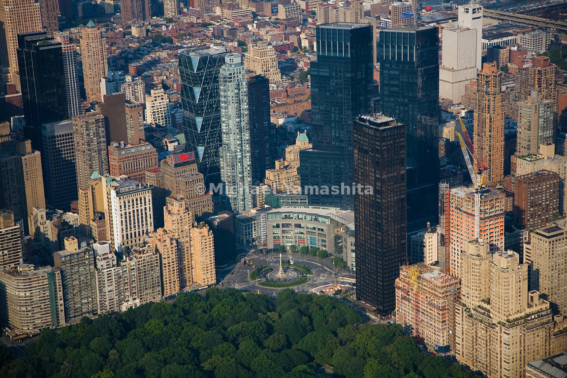 The Time Warner Center anchors the western corner of Columbus Circle, dwarfing the elegantly scaled buildings of Central Park...