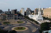 View over the Town Hall and Catholic Cathedral, completed in 1944, Maputo, Mozambique