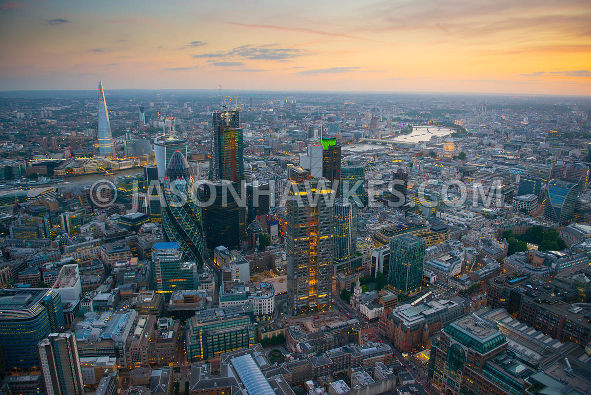 Aerial view over the City at dusk, London