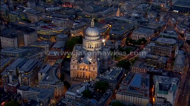Aerial footage of St Paul's Cathedral at night, City of London, England, UK