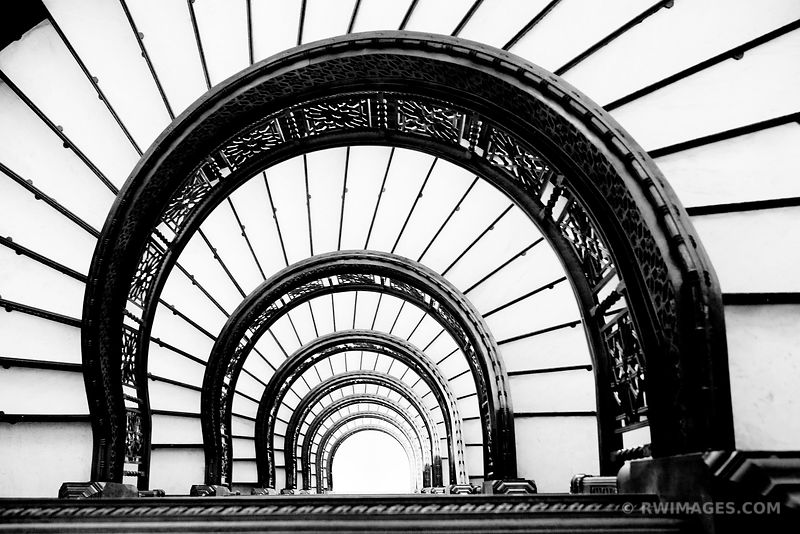 ROOKERY BUILDING CHICAGO ARCHITECTURE BLACK AND WHITE