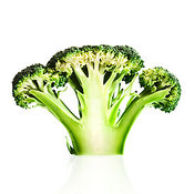 Broccoli cutaway on white background
