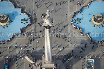 Aerial view over Traflalgar Sqaure, London.