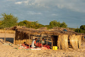 Fishermen fixing nets on the beach, lake Niassa, Mozambique