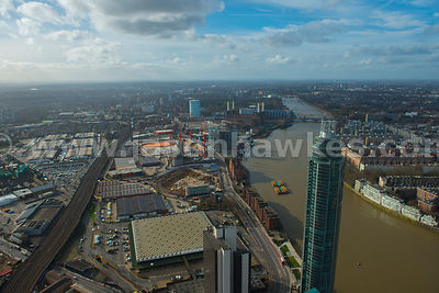 Aerial view of the Nine Elms regeneration, London